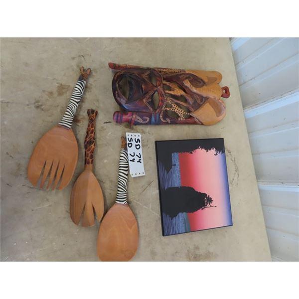 "Tribal Mask 7"" x 13"" Picture, & Wooden Salad Forks"