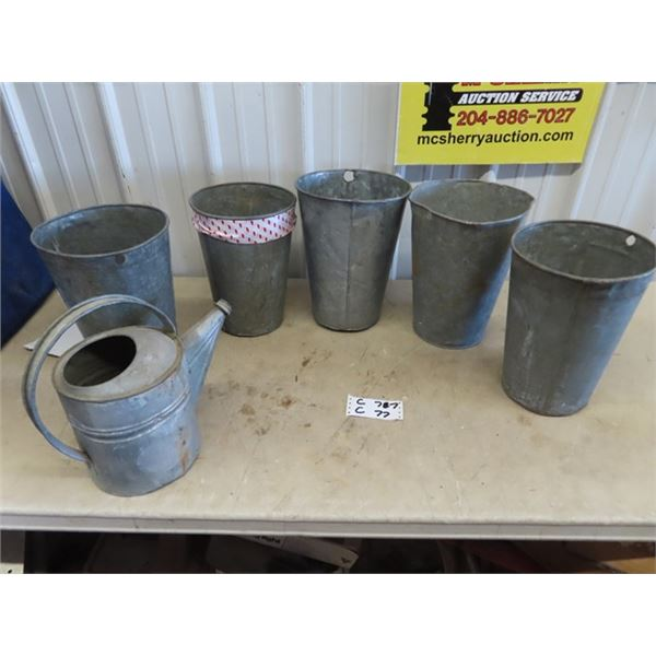 5 Galv Pails & Watering Can