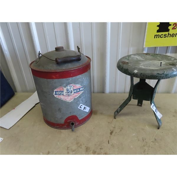 Horse Metal Ware Galvanized Water Cooler & Metal Stool
