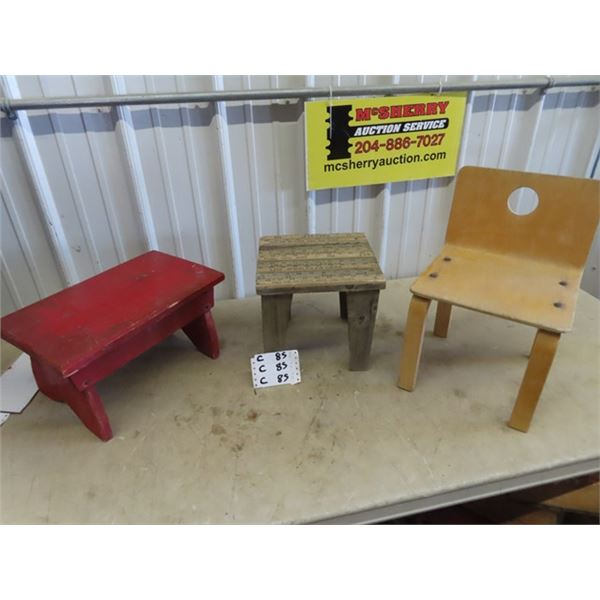 Ruler Top Child's Table & Small Chairs