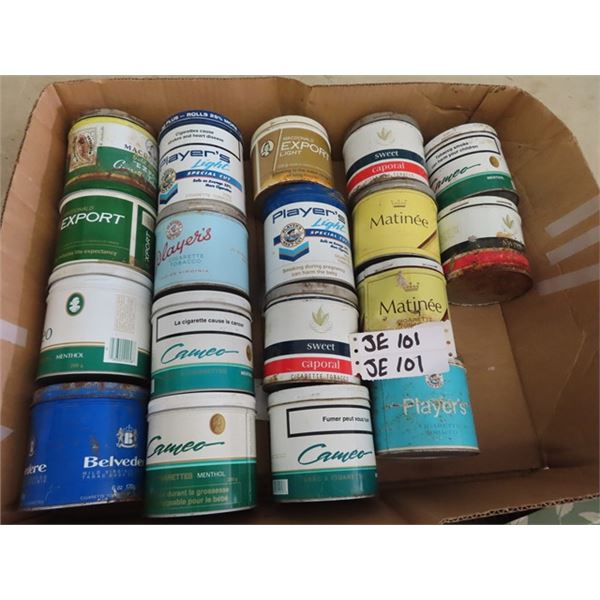 18 Tobacco Tins - Playersa, Export, Sweet Caporal Cameo Plus More!