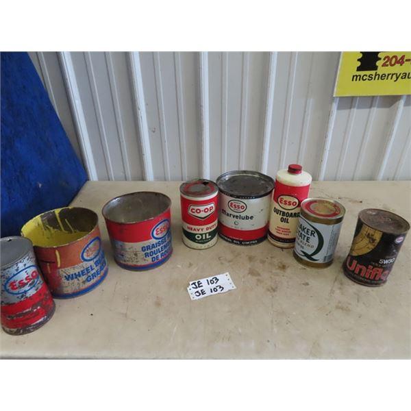 Coop Oil Can, 6 Esso, & 1 Quaker State