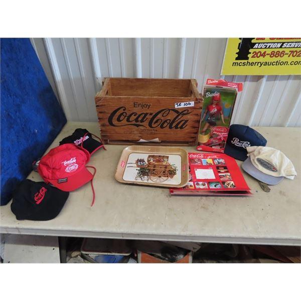 Coca Cola Crate, Barbie Coke Doll, Coke Tray, & Coke Hats