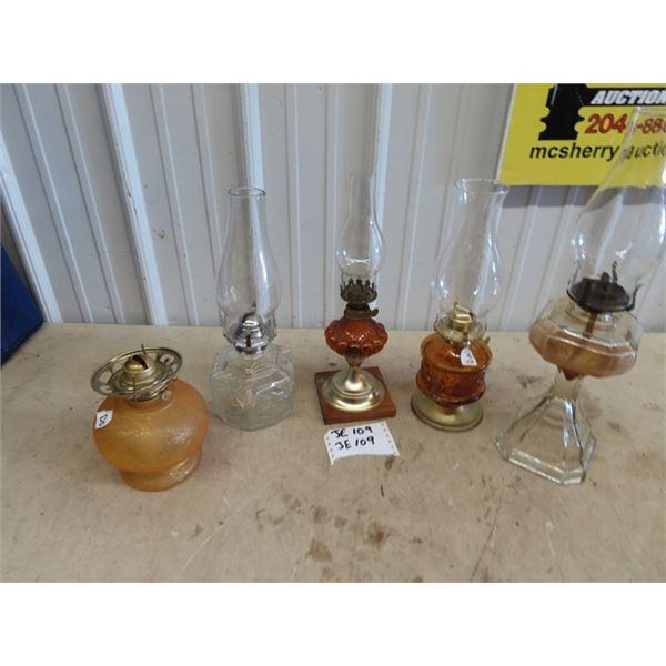 5 Coal Oil Lamps