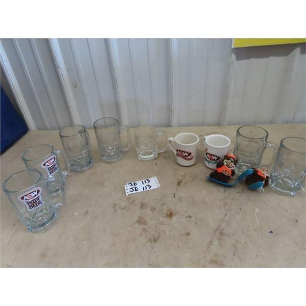 A & W Mugs, Stuffies, & Coffee Cups