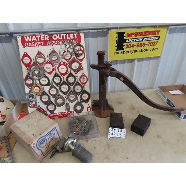 Water Gasket Store Board & Product, Auto Jack, Model T Coils, New Old Stock Fuel Pump