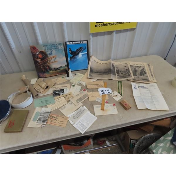 Old Stationary - Some w Stamps, Creamery Hudson Bay- JD Snowmobile Brochure - Plus