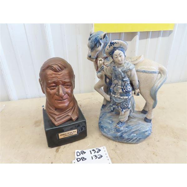 John Wayne Sculpture & Oriental Figurine w Horse