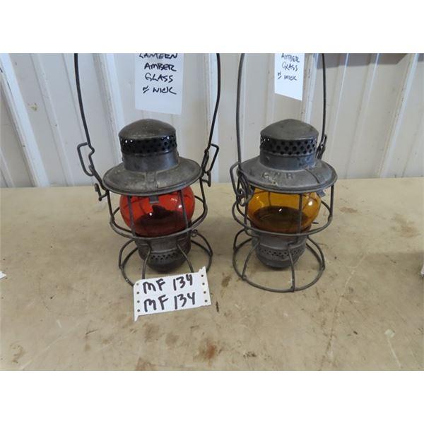 2 Railway Lanterns w Colored Glass