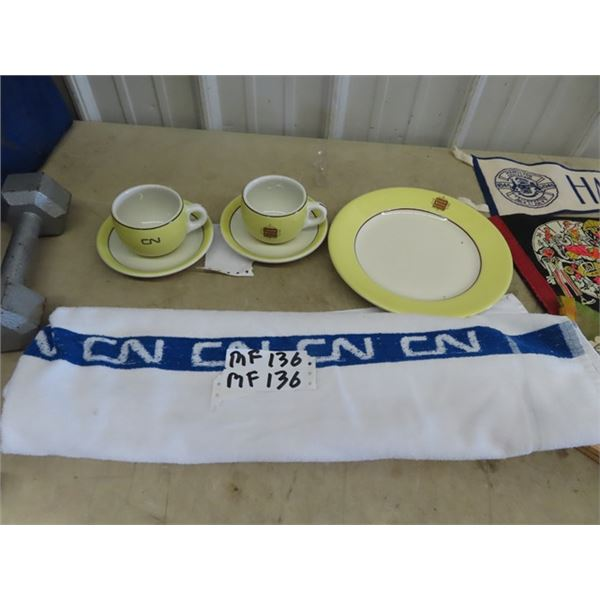 Railway Dishes & Towel
