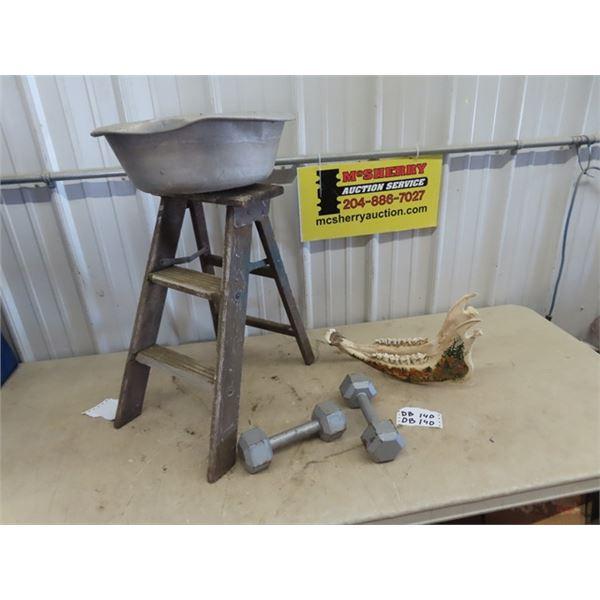 Wooden Stepper w Basin, Steel Weights, & Horse Jaw Bone w Art