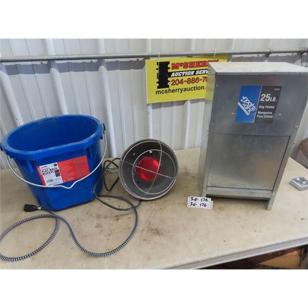 (IG) Heated Water Bucket, Brooder Heat Lamp, 25 LB Dog Feeder