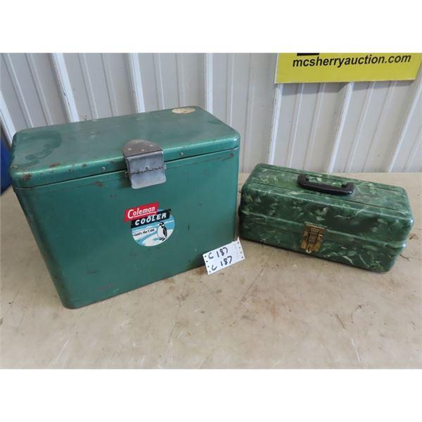 Coleman Metal Picnic Cooler & Plasteck Tackle Box