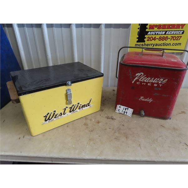 2 Picnic COolers 1) Metal Pleasure Chest & 1) West Wind Boat Co