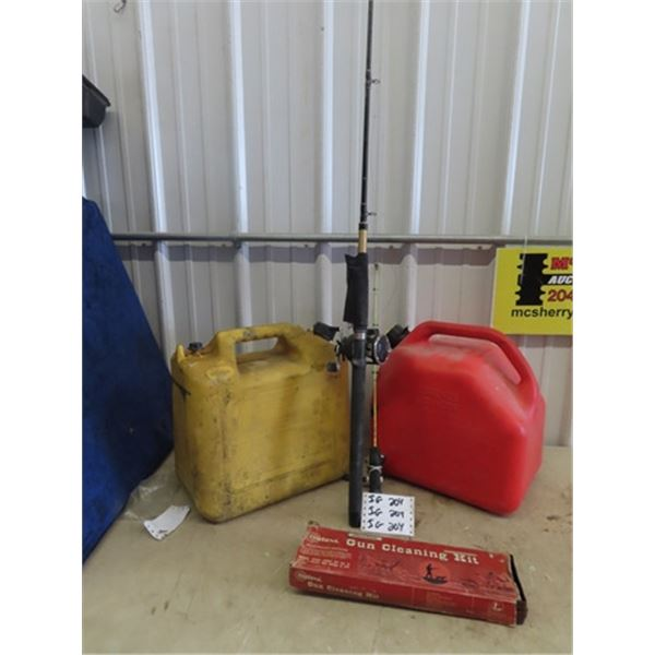 (IG) 2 Gas Cans , 2 Fishing Rods & Gun Cleaning Kits