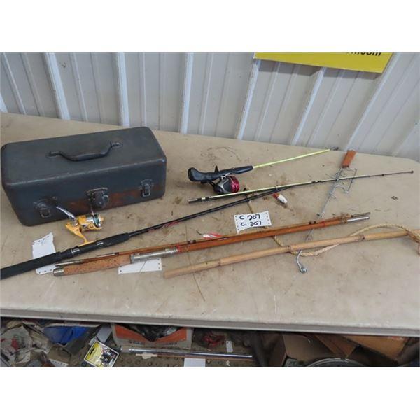 Fishing Rods, Modern & Vintage,& Metal Tackle Box