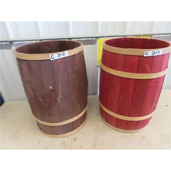 """2 Wooden Display Barrels 22""""H & 15"""" Rd"""