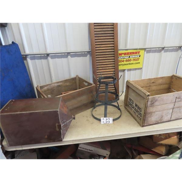 Floor Bin For Hoosier- 2 Fruit Crates, Shutter, & Metal Rack