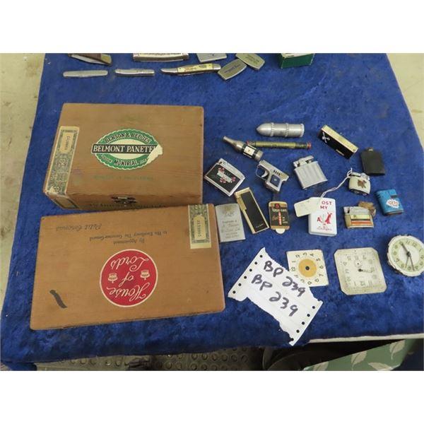 Lighters, Cigar Boxes, Clock Face, & Keys