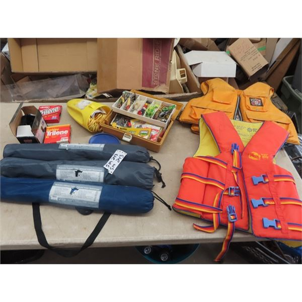 Life Jackets, Folding Chairs, Fishing Tackle Box