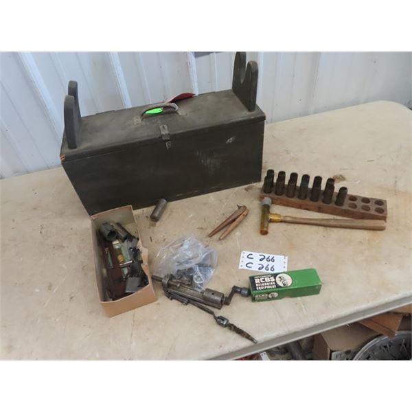 Shooters Box w Gun Repair Tooling & Reloading Items