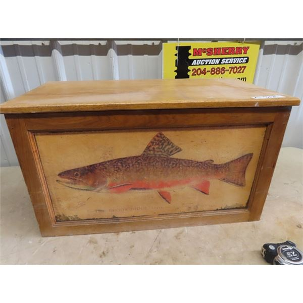"""Wooden Chest w Fishing Display 16""""H 29""""W 11""""D"""