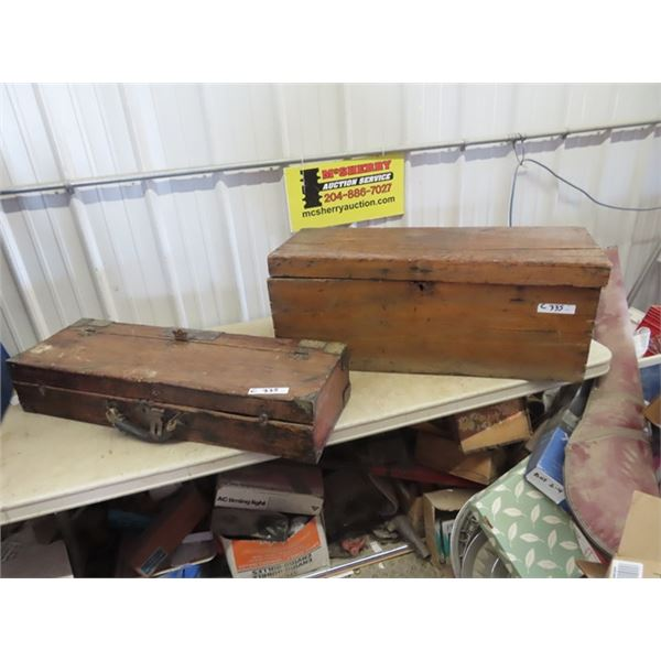 2 Wooden Carpenter Tool Boxes