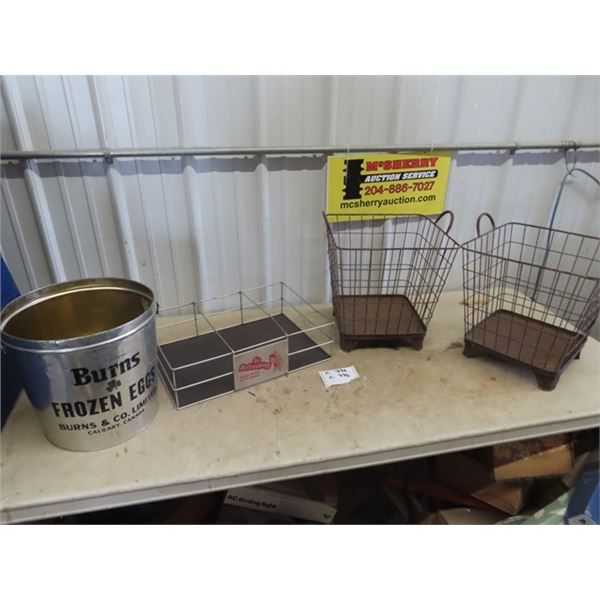 2 Wire Baskets, Pop Carrier & Burns Tin
