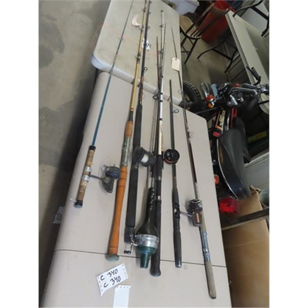 8 Fishing Rods, 1/2 w Reels, Some Big Game Rods, 1 w Whirl Away Reel