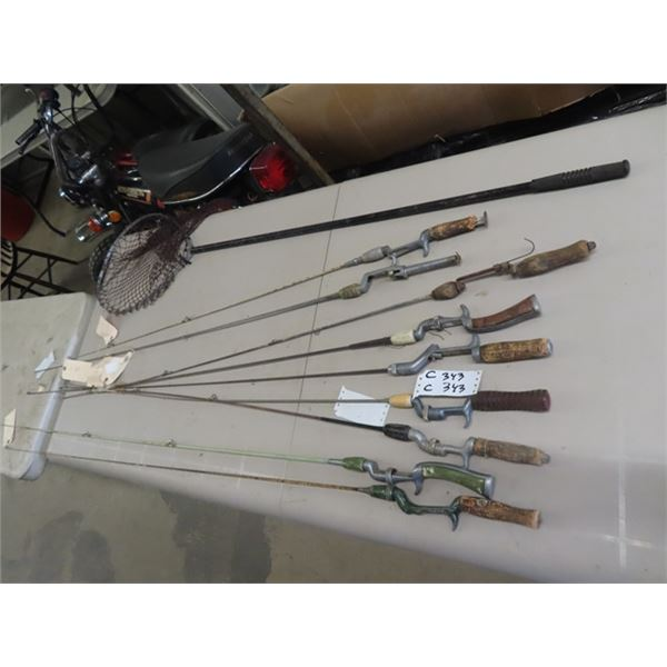 9 Vintage Fishing Rods & Net , 1/2 Have Spin Cast Rods
