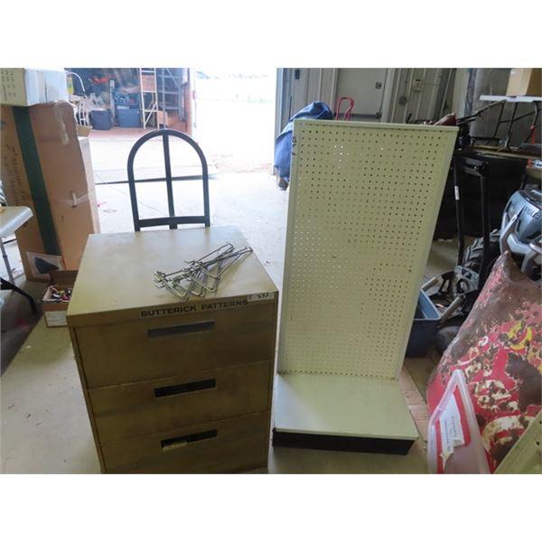 (F) Metal 3 Drawer Shop Cabinet & Peg Board Stand