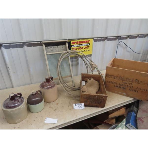 British America Paint Crate , Fruit Crate, Lasso, Washboard, 3 Display Jugs- (Not real - Fake Crocke