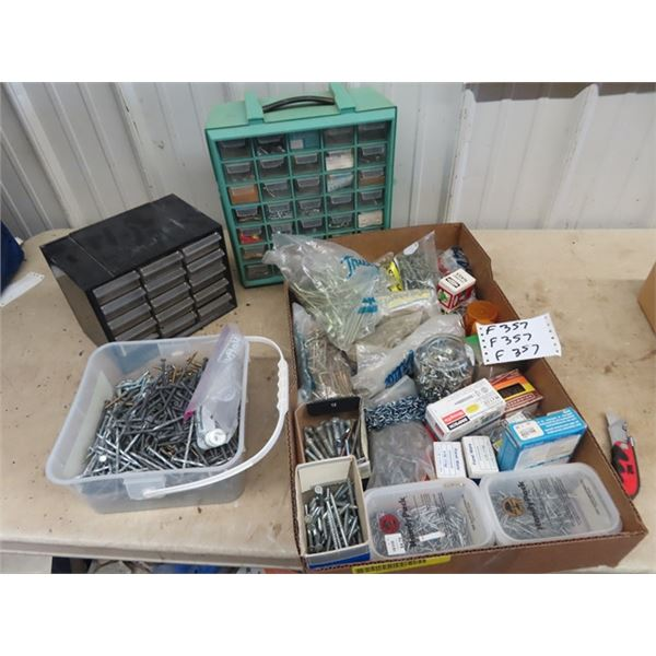 (F) 2 Organizers w Houshold Hardware, Bolts, Screws, Nails Plus More!