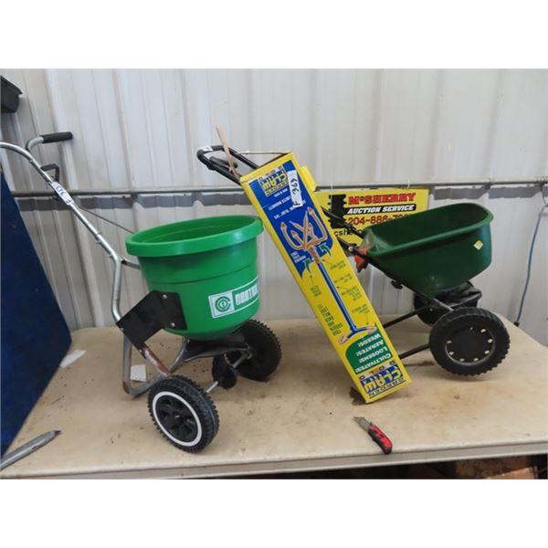 (F) 2 Grass/Fertilizer Broadcasters & New Garden Claw