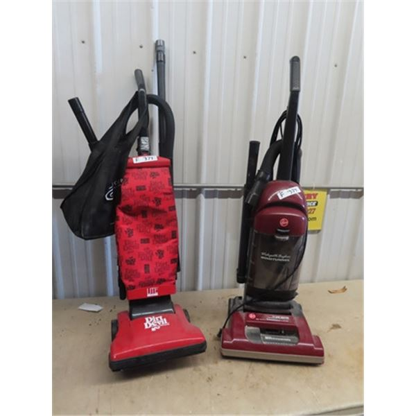 (F) 2 Upright Vacuums 1) Dirt Devil, 1) Hoover Wind Tunnel
