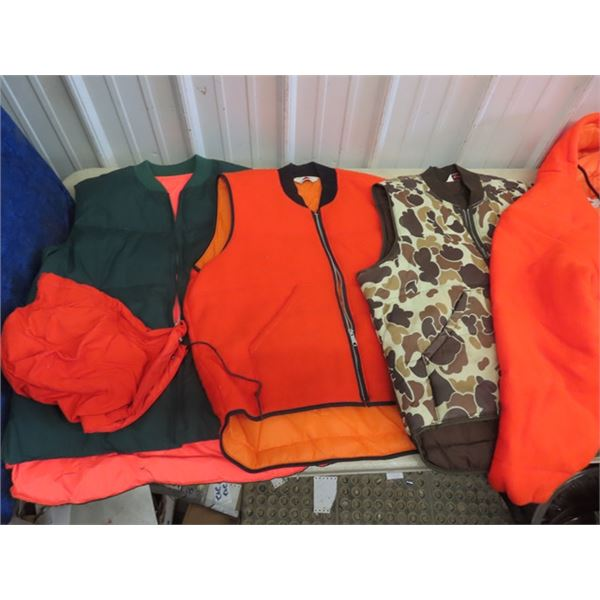 (F) 3 Hunting Vests, 3 Jackets, Snowmobile Suit, Large or XL Plus More!
