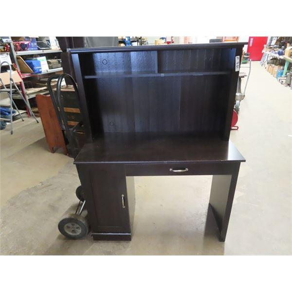 """(F) Computer Desk w Hutch 56""""H 43"""" W 20"""" D"""