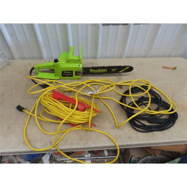 (F) Poulan 1420 Elec Chainsaw & 2 Lengths of Cord