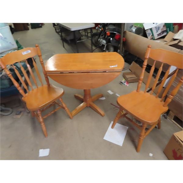 """(F) Maple Pedestal Drop Lead Table w 2 Chairs 36"""" RD when Extended"""