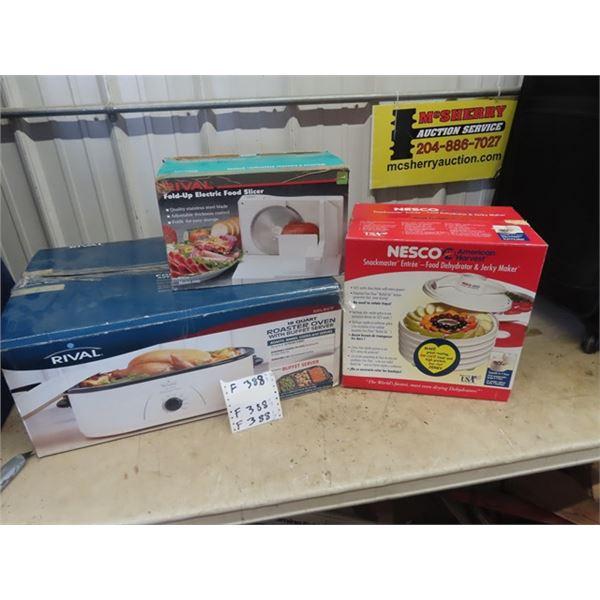 (F) 3 New Appliances 1) Rivel 18 Quart Roaster w Buffet Server 1) nesco Dehydrater 1) Elec Food Slic