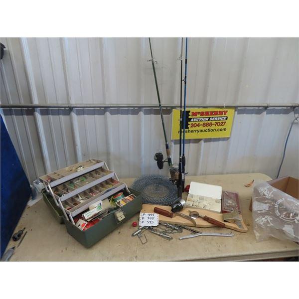 (F) Full Fishing Tackle Box, 3 Fishing Rods & 4 Reels - Folding Fish Baskets  & Filleting Board