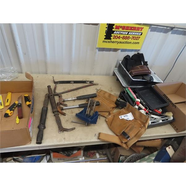 (F) Wood Vice, Hammers, Wrecking Bar, Tool Pouch, Painting Trays & Rollers