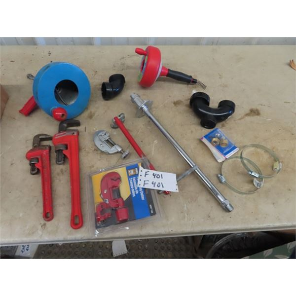 (F) Pipe Wrenches, 2 Snakes, Cutters & Plumbing Supply