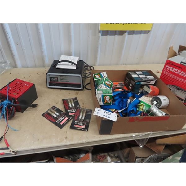 (F) New Schwimnacher Battery Charger Plus Filters, Spark Plugs, & Trailer Wiring