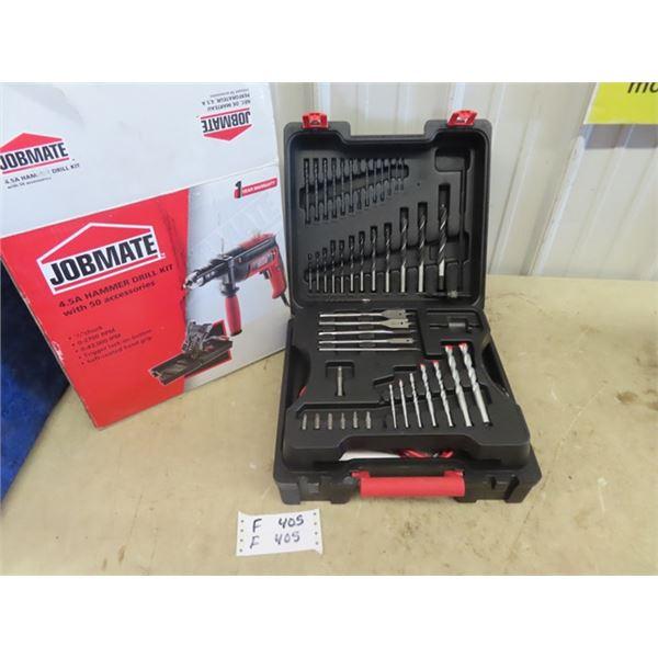 (F) New Jobmate USA Hammer Drill w Approx 50 Accessories