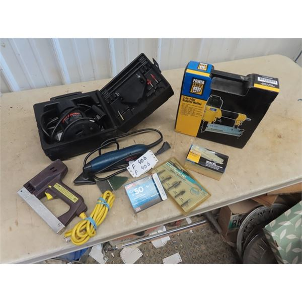 (F) New 2 in 1 Air Nailer/ Stapler, B & D Router, Ryobi Mouse Sander, Power Stapler & Accessories
