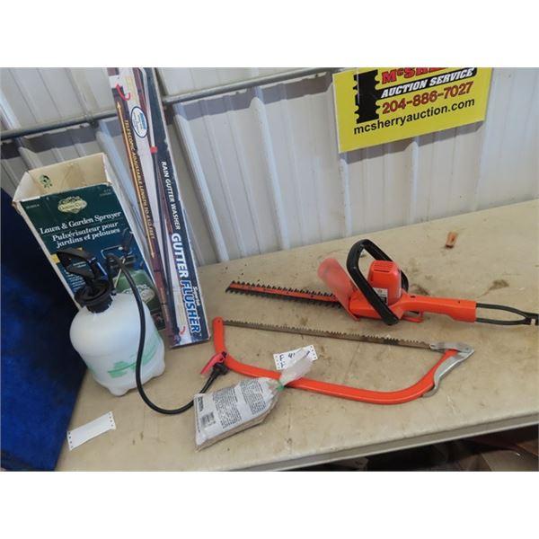 (F) Elec Hedger, Buck Saw, Gutter Flusher, Bottle Sprayer,  & Grass Seed