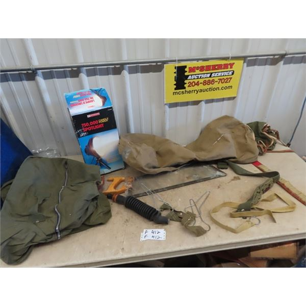 (F) Military Duffle Bag, Meat Saw, Ammo Belt, Dead Duck Carrier, Goose Call, Spotlight