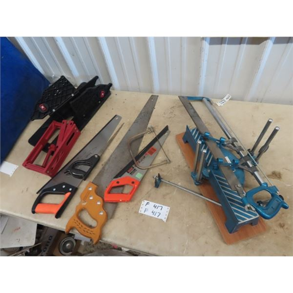 (F) 2 Mitre Saws, 1 New, & Other Saws