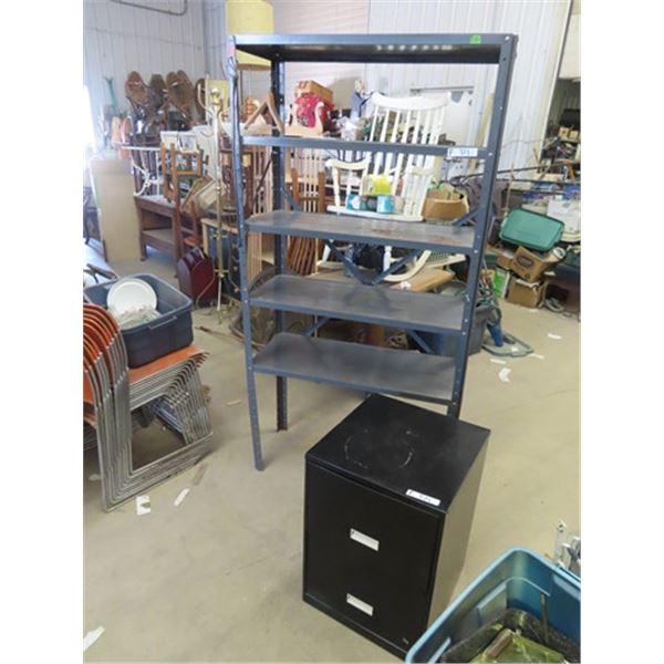(F) Metal Shelf & 2 Drawer Metal Filing Cabinet